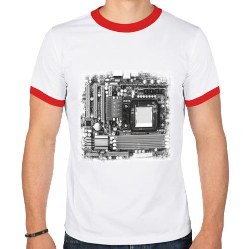 """Мужская футболка-рингер """"Материнская плата"""" - 1"""