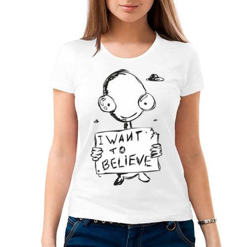 Женская футболка хлопок  Фото 03, I want to believe