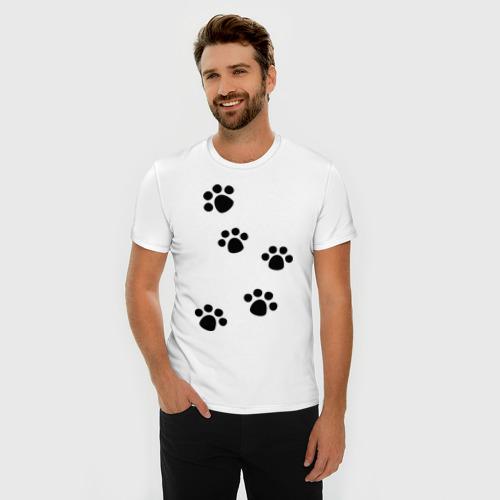 Мужская футболка премиум  Фото 03, Следы животного - Лапы