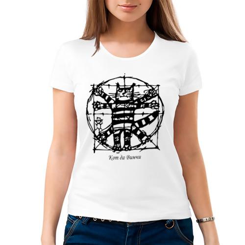 Женская футболка хлопок Кот Да Винчи