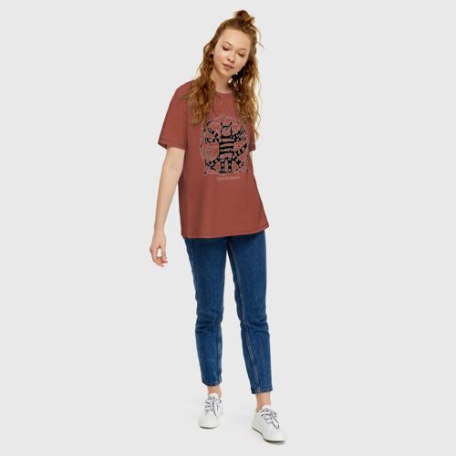 Женская футболка хлопок Oversize Кот Да Винчи Фото 01