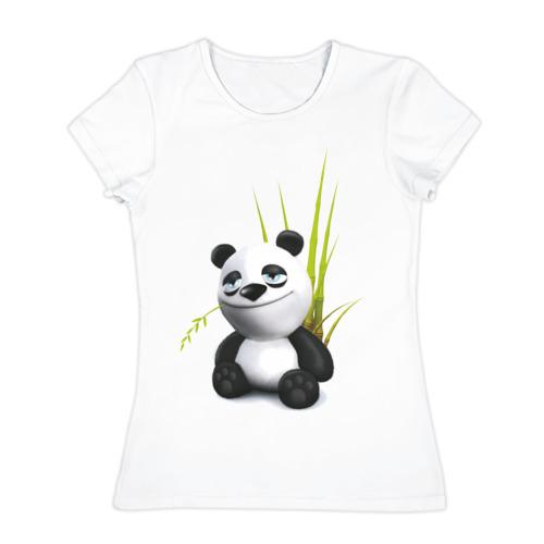 Женская футболка хлопок Панда кайфует
