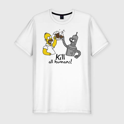 Мужская футболка премиум Бендер пьет с Гомером