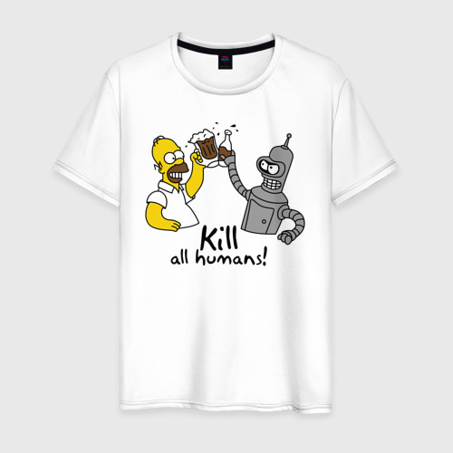 Мужская футболка хлопок Бендер пьет с Гомером