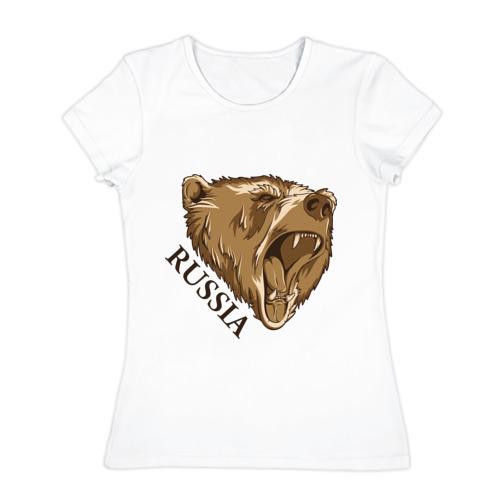Женская футболка хлопок Russia Bear