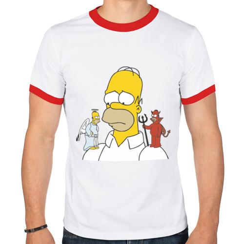 """Мужская футболка-рингер """"Гомер Симпсон - добро и зло"""" - 1"""