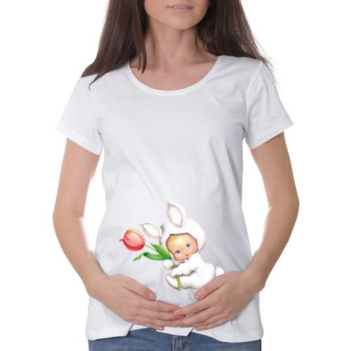 Футболка для беременных хлопок Девочка - зайчик