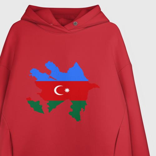 Женское худи Oversize хлопок Azerbaijan map Фото 01
