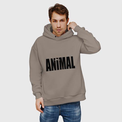 Мужское худи Oversize хлопок Animal - животное Фото 01