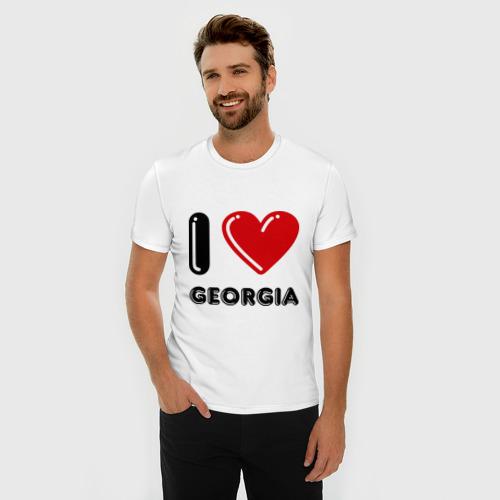 Мужская футболка премиум  Фото 03, I love Georgia