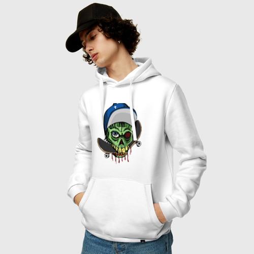 Мужская толстовка хлопок  Фото 03, Череп держит в зубах скейтборд