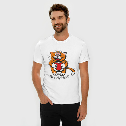 Мужская футболка премиум  Фото 03, Влюбленный кот