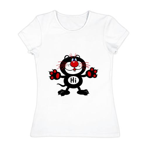 Женская футболка хлопок  Фото 01, Котик Hi