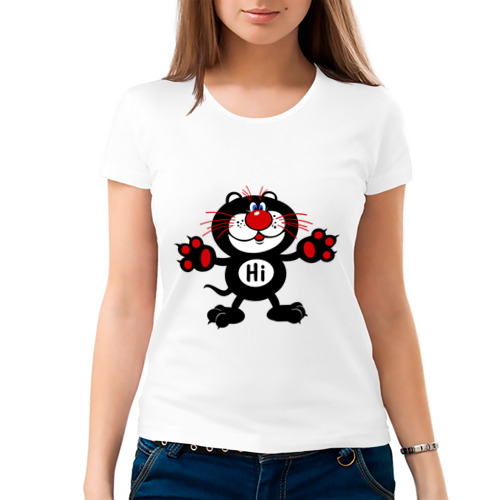 Женская футболка хлопок  Фото 03, Котик Hi