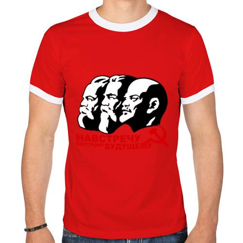 """Мужская футболка-рингер """"Навстречу светлому будущему СССР"""" - 1"""