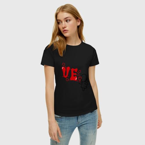 Женская футболка хлопок Парная Love девочка Фото 01