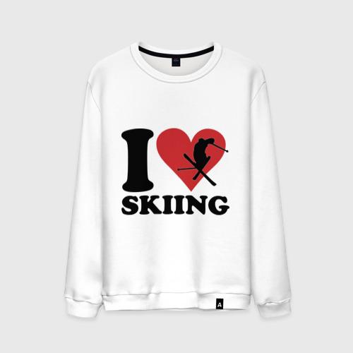 Мужской свитшот хлопок  Фото 01, I love skiing - Я люблю кататься на лыжах