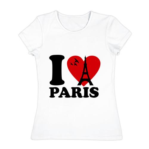 Женская футболка хлопок  Фото 01, Я люблю Париж