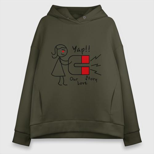 Женское худи Oversize хлопок Магнит для сердца (женская) Фото 01