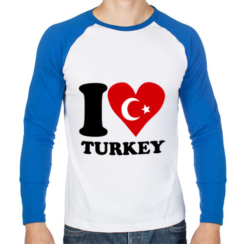 Мужской лонгслив реглан I love turkey