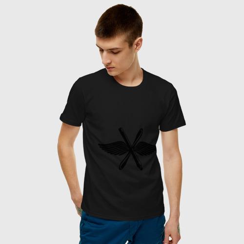 Мужская футболка хлопок Малая эмблема ВВС России Фото 01
