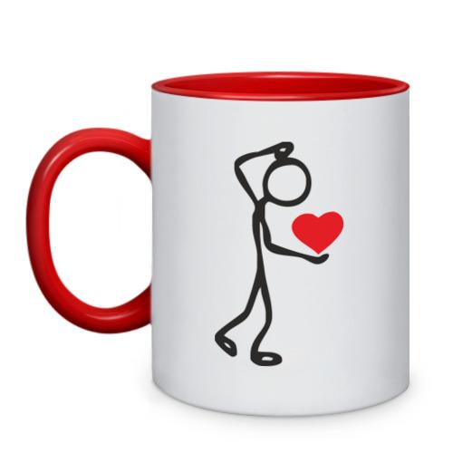 Кружка двухцветная Человечек с сердцем