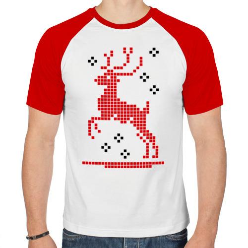 Мужская футболка реглан  Фото 01, Олень-вышивка