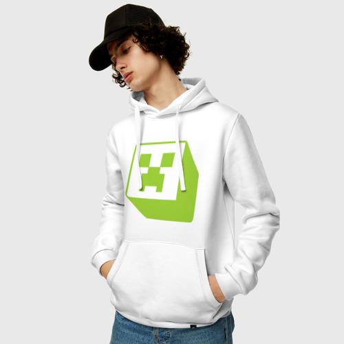 Мужская толстовка хлопок  Фото 03, Minecraft creeper green