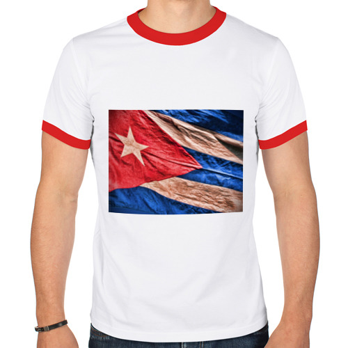 Мужская футболка рингер  Фото 01, Куба флаг олд
