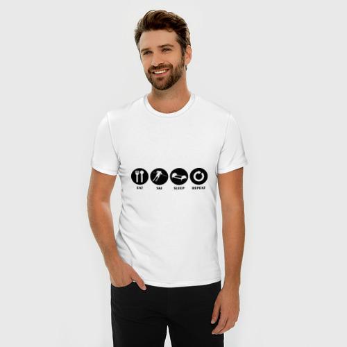 Мужская футболка премиум  Фото 03, Еда,лыжи,сон,повтор