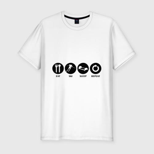 Мужская футболка премиум  Фото 01, Еда,лыжи,сон,повтор