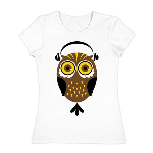 Женская футболка хлопок  Фото 01, Сова в наушниках