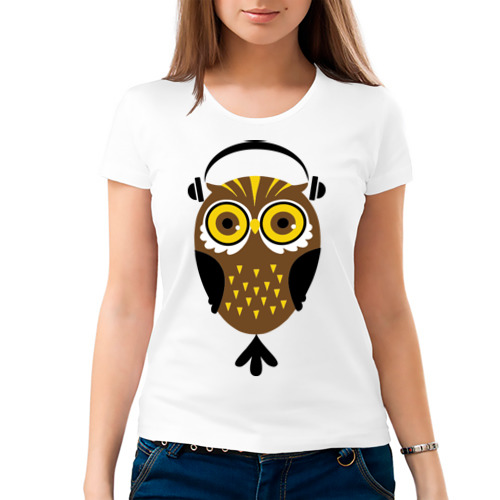 Женская футболка хлопок  Фото 03, Сова в наушниках