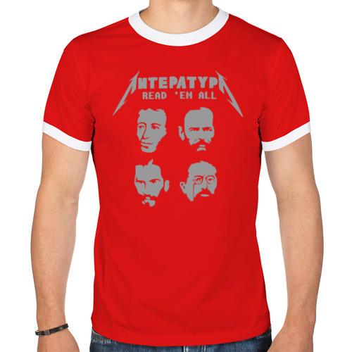 """Мужская футболка-рингер """"Read 'em all"""" (красная) - 1"""