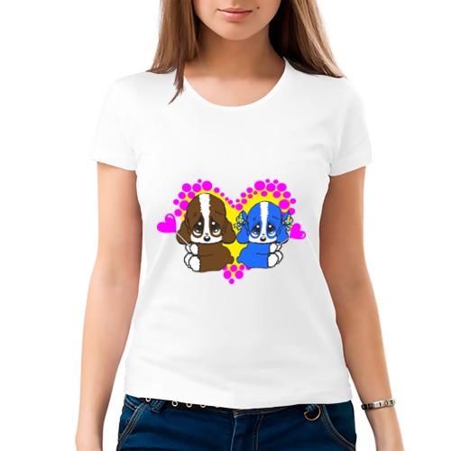 Женская футболка хлопок  Фото 03, Милые щеночки