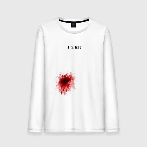 """Мужская футболка с длинным рукавом """"Im fine"""" (Я в порядке) - 1"""