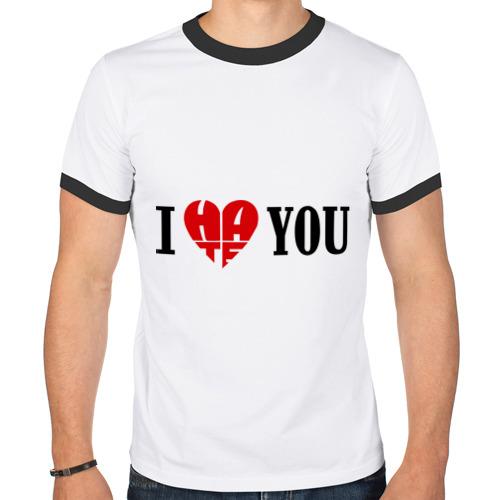 Мужская футболка рингер  Фото 01, I hate you