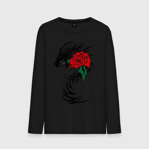 Мужской лонгслив хлопок  Фото 01, Дракон и роза