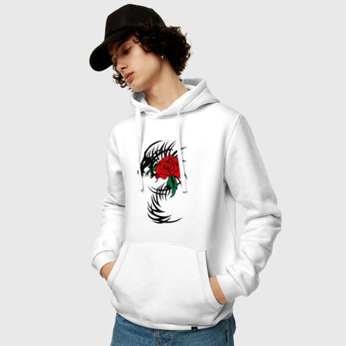 Мужская толстовка хлопок  Фото 03, Дракон и роза