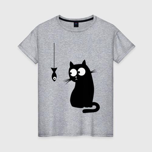 Женская футболка хлопок Кот и рыба Фото 01
