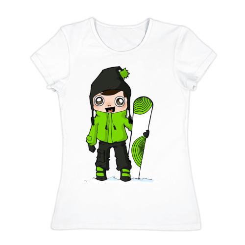 Женская футболка хлопок Зеленый парень борд