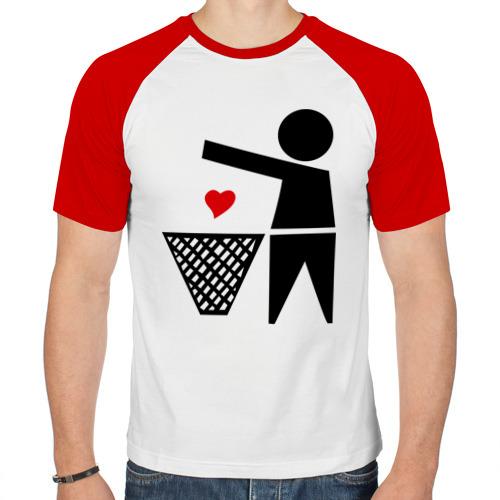 Мужская футболка реглан  Фото 01, сердце в мусорку