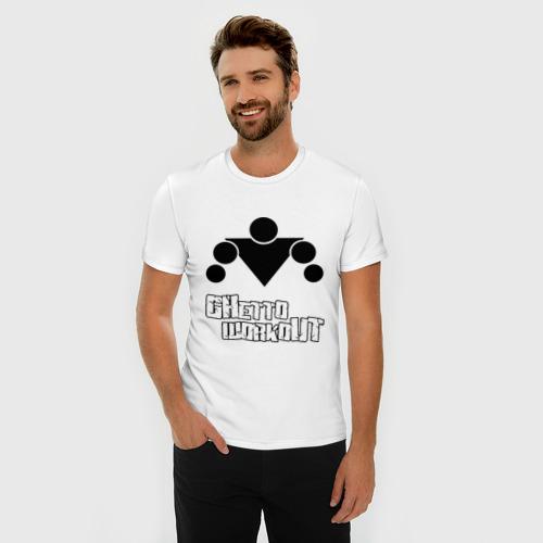 Мужская футболка премиум  Фото 03, Ghetto workout белый