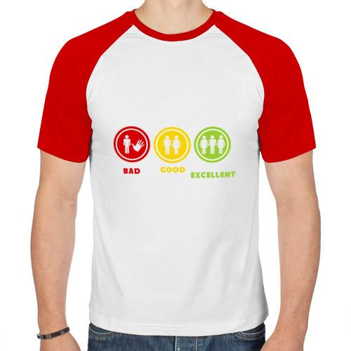 Мужская футболка реглан  Фото 01, bad good exellent