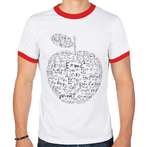 Мужская футболка рингер  Фото 01, Яблоко Ньютона (формулы физики)