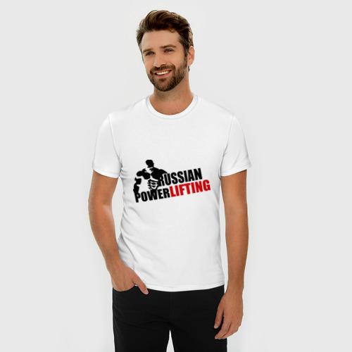 Мужская футболка хлопок Slim Russian powerlifting Фото 01
