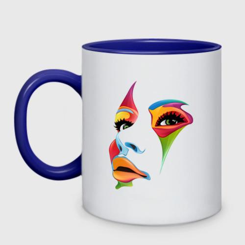 Кружка двухцветная цветное лицо Фото 01