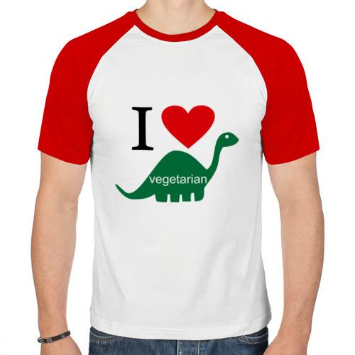 Мужская футболка реглан  Фото 01, I love  Vegetarian (Вегетерианство)