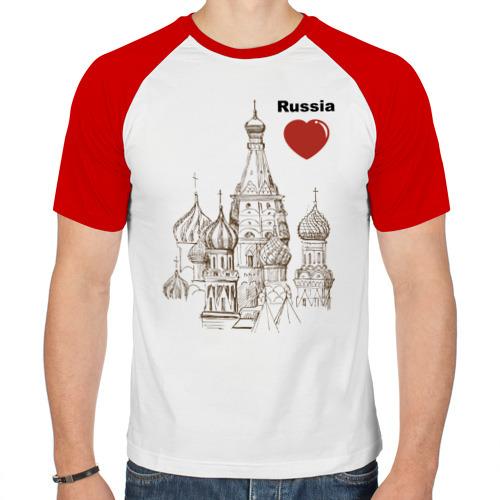 Мужская футболка реглан  Фото 01, Люблю Россию (Кремль)