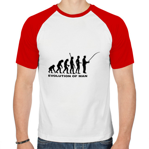 Мужская футболка реглан  Фото 01, Рыбак. Эволюция
